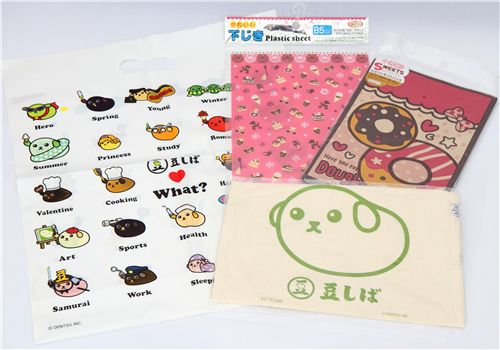 Mameshiba bags, mouse pad and paper bags
