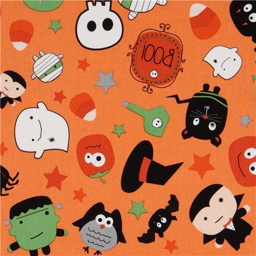 orange Riley Blake Halloween fabric Dracula bat