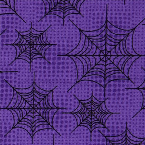 purple Halloween fabric spider web designer fabric