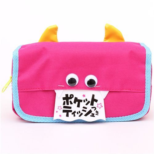pink monster face devil pouch pencil case