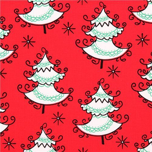 red Christmas tree winter Christmas fabric Michael Miller Holiday