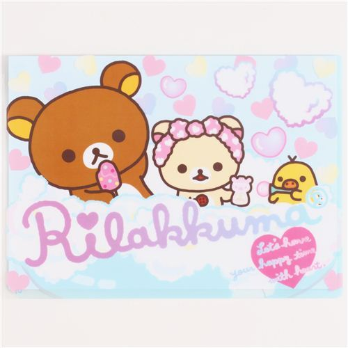 blue Rilakkuma bear in bath tub A4 plastic file folder