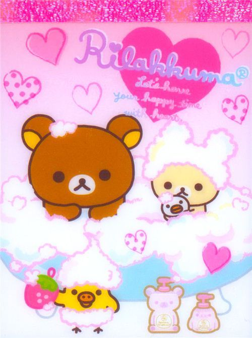 kawaii Rilakkuma bear bath tub foam mini Note Pad San-X