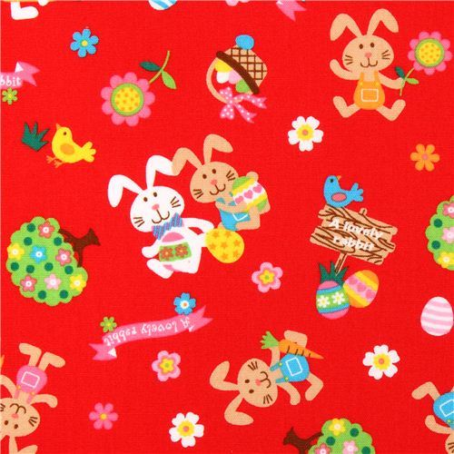 red rabbit Easter bunny Easter egg flower animal fabric from Japan