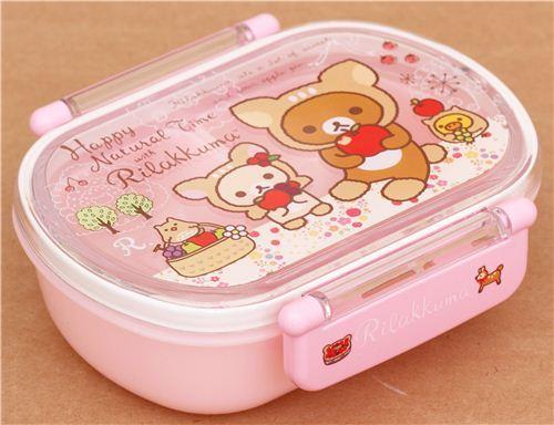 cute pink deer apple Rilakkuma bear Bento Box lunch box