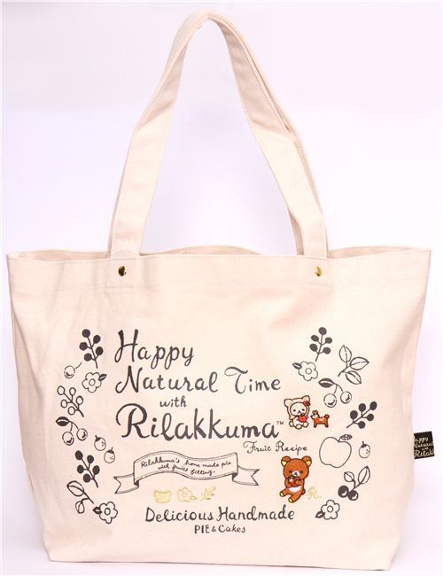 big natural-colored deer Rilakkuma canvas linen handbag