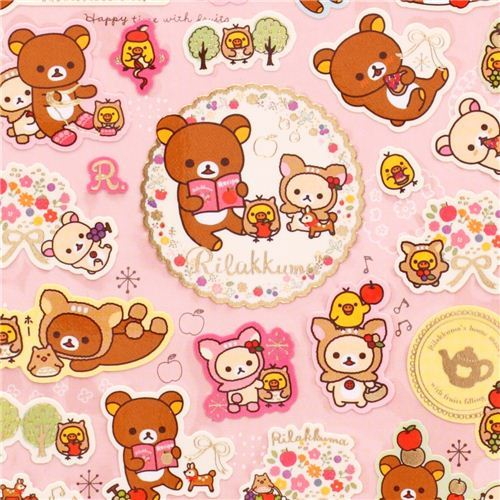 deer Rilakkuma bear stickers with deer forest apple cake
