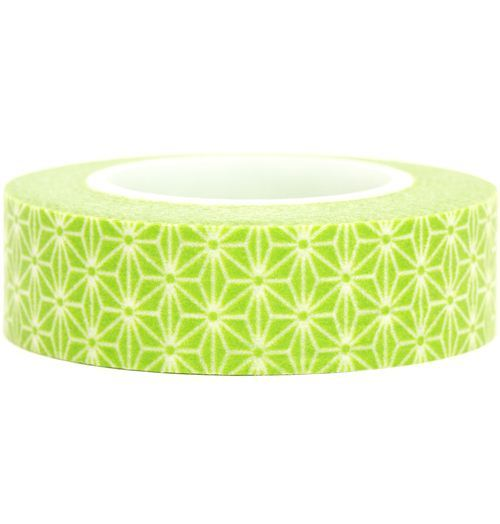 green Washi Masking Tape deco tape white flowers