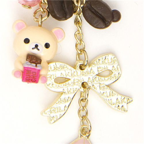 Rilakkuma bear cellphone strap chocolate & coffee