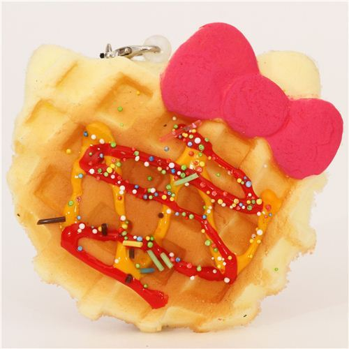 Hello Kitty waffle pink bow squishy charm