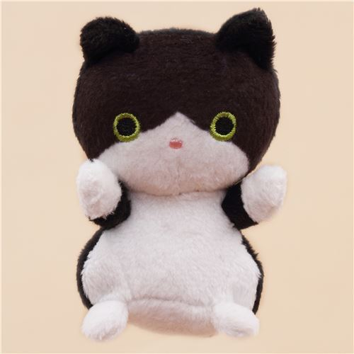 cute small black white cat animal plush toy