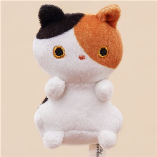 cute small white brown black cat animal plush toy