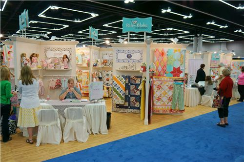 Rhe Riley Blake booth at the International Quilt Market was divided into different parts