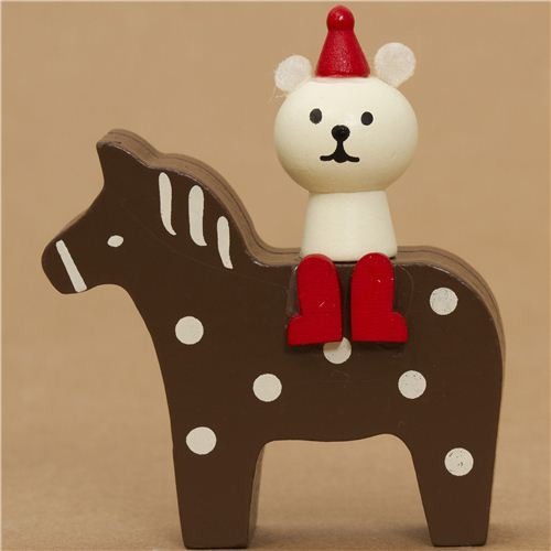 polar bear on pony Christmas card holder Japan Christmas