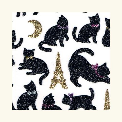 cute black cat animal Eiffel Tower moon glitter stickers by Q-Lia