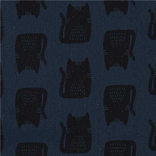 dark blue-green with black cat animal Canvas fabric Andover USA Maker Maker
