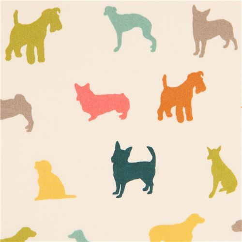 light cream with colorful dog silhouette organic fabric by birch from the USA
