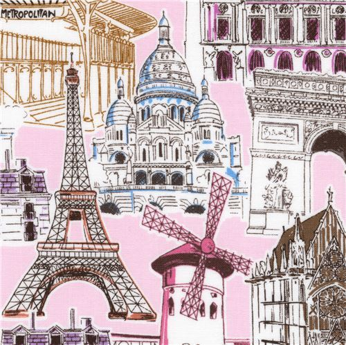 light pink Robert Kaufman Eiffel Tower landmark fabric Dream Vacation