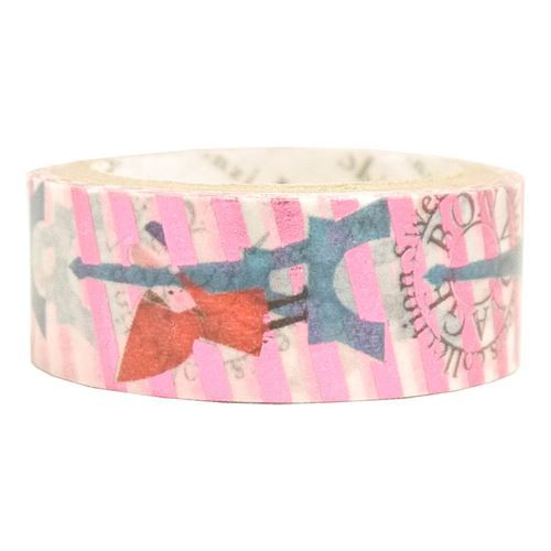 stripe Red riding hood pink-purple metallic Washi Masking Tape deco tape