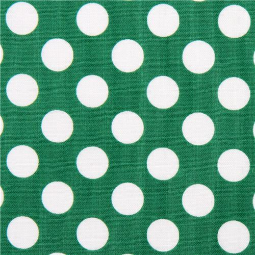 forest green Michael Miller fabric Ta Dot with white dots