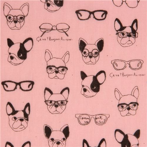 pink double gauze dog animal glasses Kokka fabric