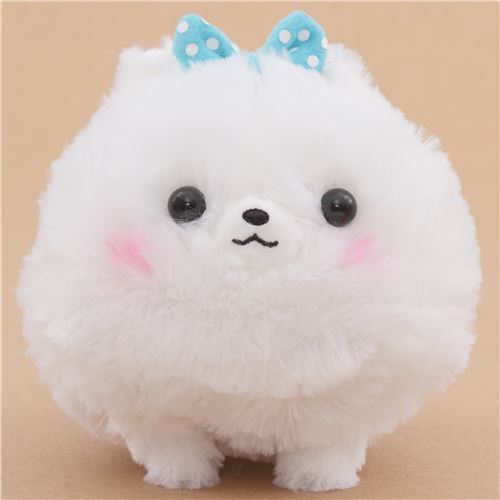 cute fluffy white dog blue bow Pometan plush toy Japan