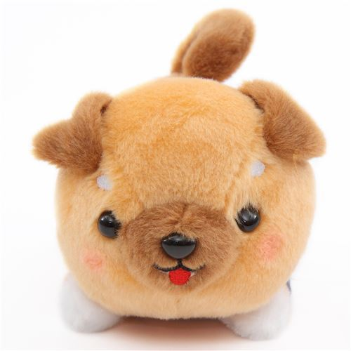 kawaii brown dog purple scarf Mameshiba San Kyodai plush toy Japan