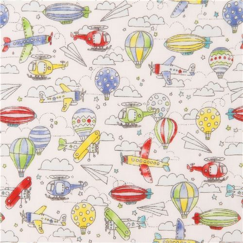 white double gauze colorful blimp hot air balloon airplane Kokka fabric