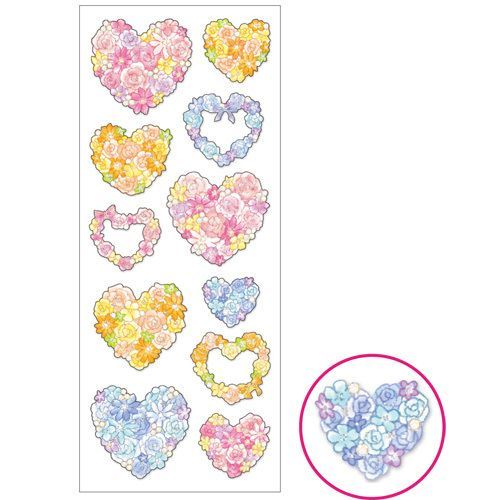colorful flower heart with silver metallic embellishment stickers by Mind Wave