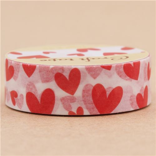 white cute red heart paper deco tape by Prime Nakamura