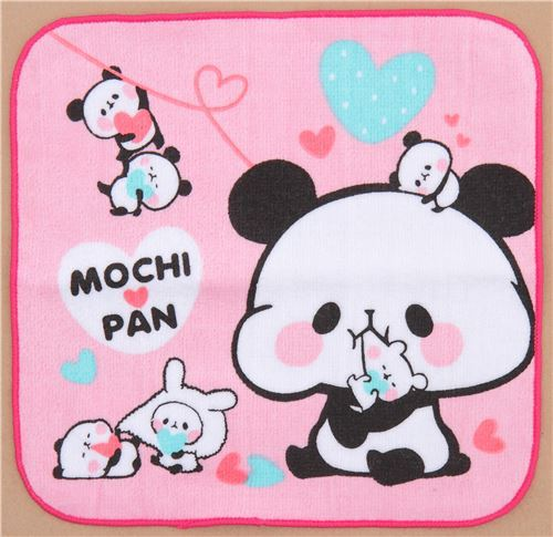pink cute funny panda with hearts towel from Japan