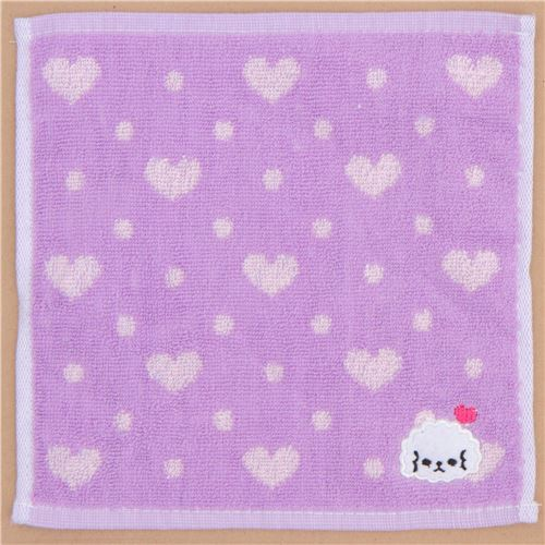 purple pale purple heart cute dog animal towel from Japan