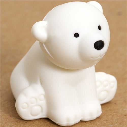 Don't let polar bears disappear. This cute polar bear eraser helps to us remember the urgency .