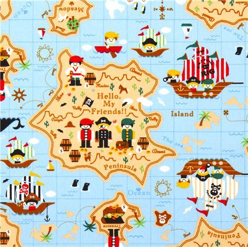 cute pirates treasure map Kokka fabric for children
