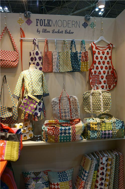 Some pretty bags and cloths made with Kokka fabrics from the Folk Modern collection