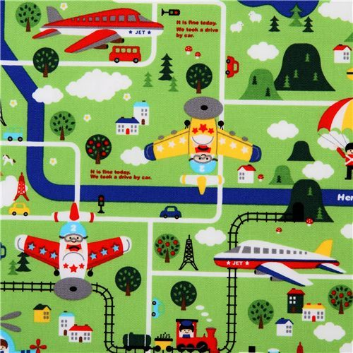 cute children map Kokka fabric from Japan green