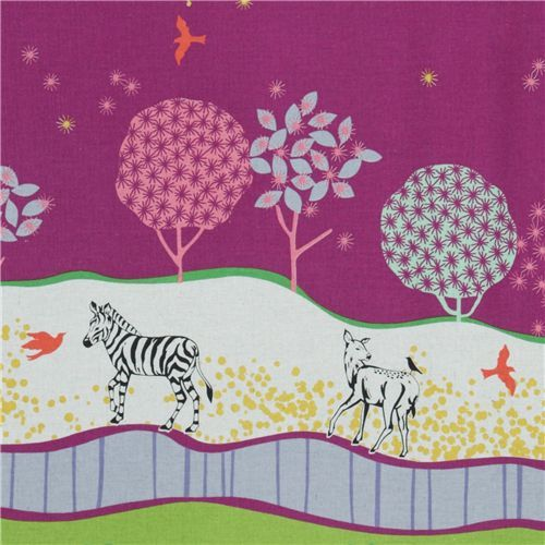 echino canvas Kokka fabric zebra meadow purple Japan