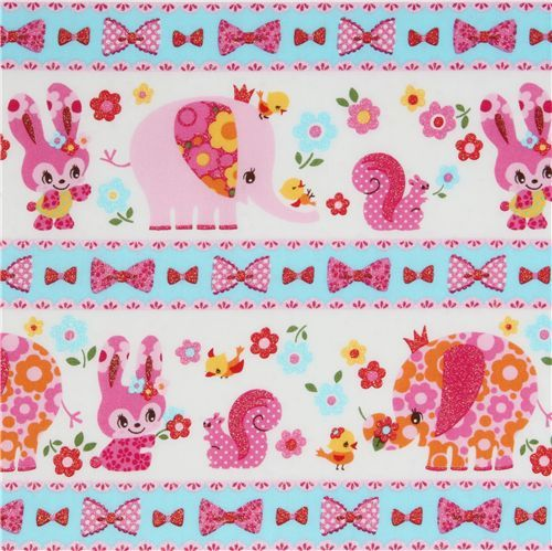 pink kawaii glitter animals Japanese fabric Kokka