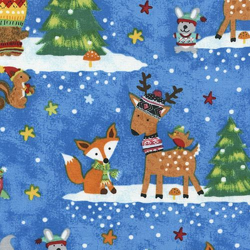 blue fabric with colorful deer bear fox Christmas by Timeless Treasures