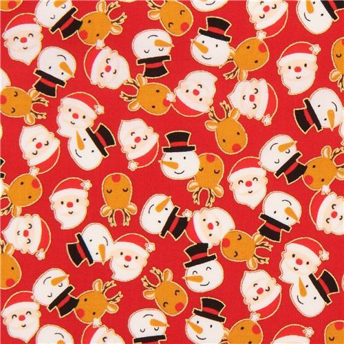 red cute santa snowman reindeer gold metallic fabric