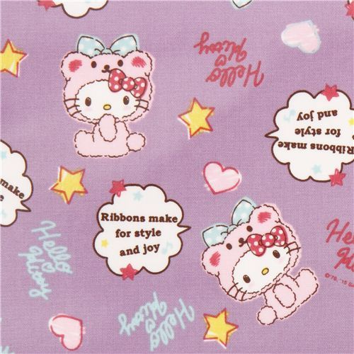 light purple Hello Kitty bear costume oxford fabric