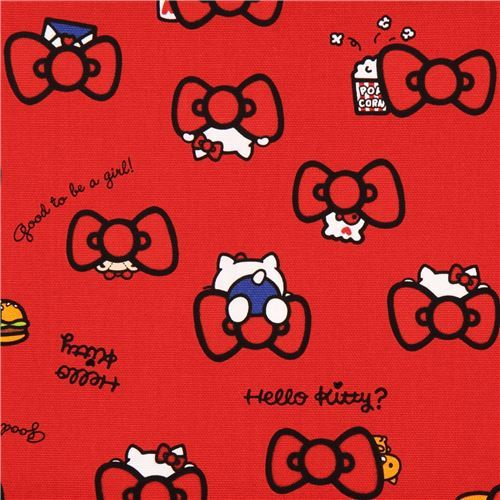 red Hello Kitty red bow oxford fabric