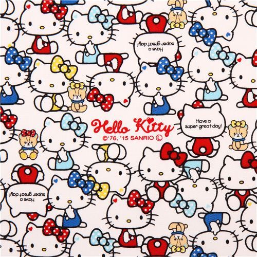white Hello Kitty sitting red blue yellow outfits oxford fabric