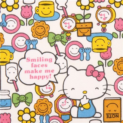 white pastel Hello Kitty Smile oxford fabric garden flower by Sanrio from Japan