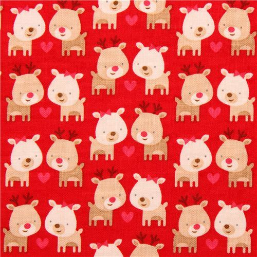 red Riley Blake reindeer Xmas fabric Home for the Holidays
