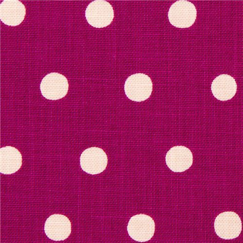 berry purple echino laminate canvas fabric with old rose polka dots