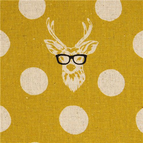 echino laminate fabric Buck stag deer with glasses yellow