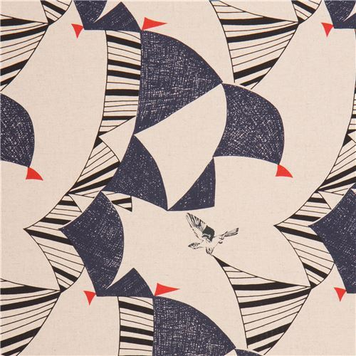 echino natural color canvas laminate fabric blue triangle bird from Japan