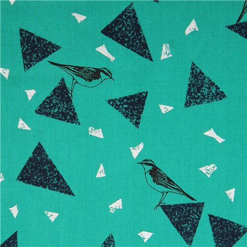 green bird triangle animal cotton sateen glitter laminate fabric Kokka