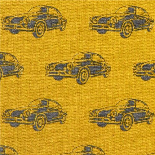 yellow ni-co classic car echino laminate fabric from Japan